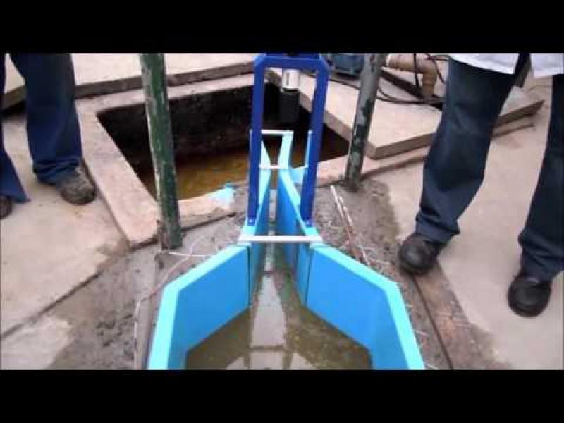Canal Parshall instalación con medidor de flujo por ultrasonido